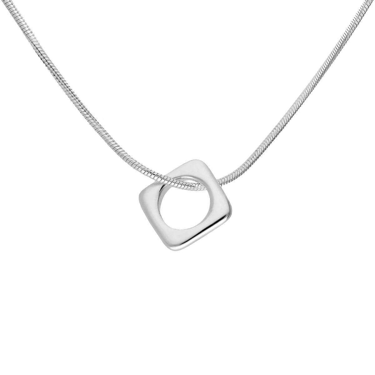 Slim Sterling Silver Square Pendant Necklace