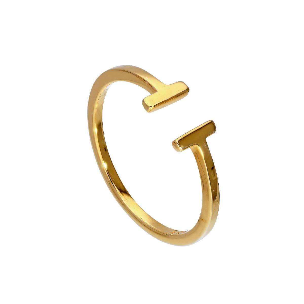 Adjustable Gold Plated Sterling Silver T-Bar Midi Ring