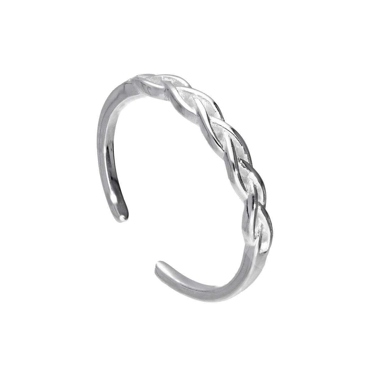 Adjustable Sterling Silver Weave Midi Toe Ring