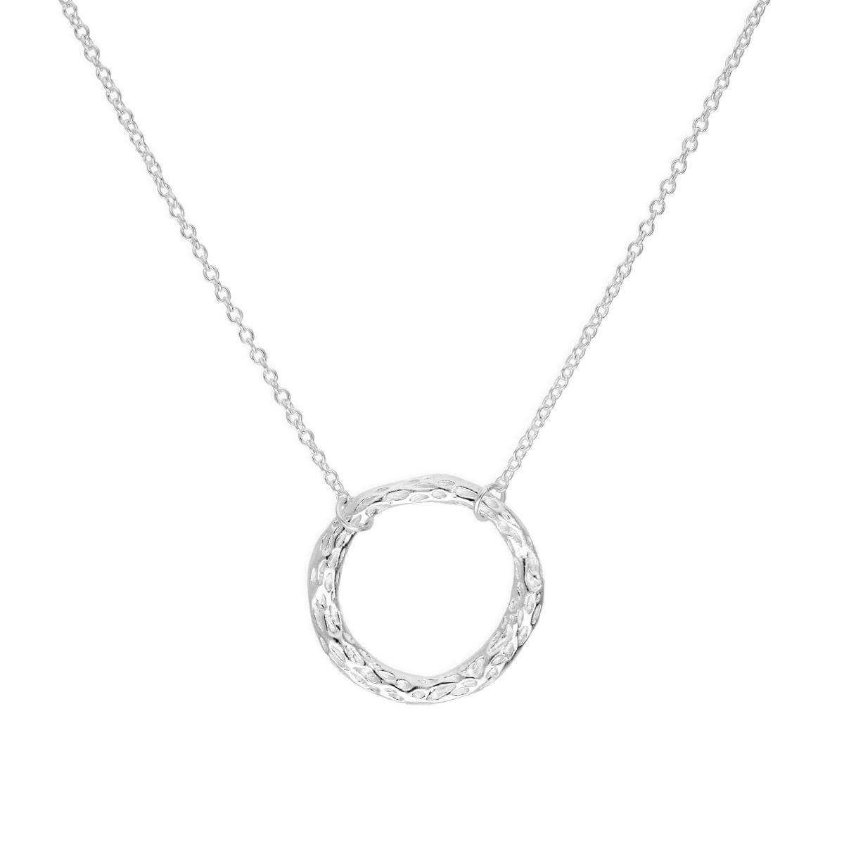 Sterling Silver Hammered Karma Ring Necklace on 16 Inch Chain