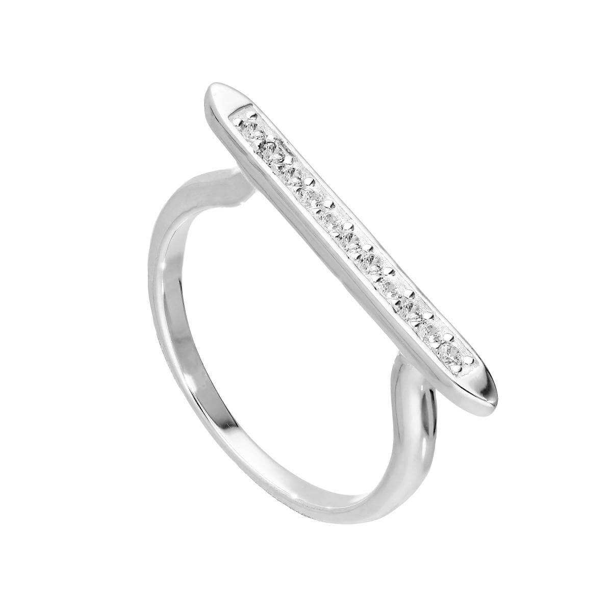 Sterling Silver & Clear CZ Crystal Long Bar Ring Size I - U