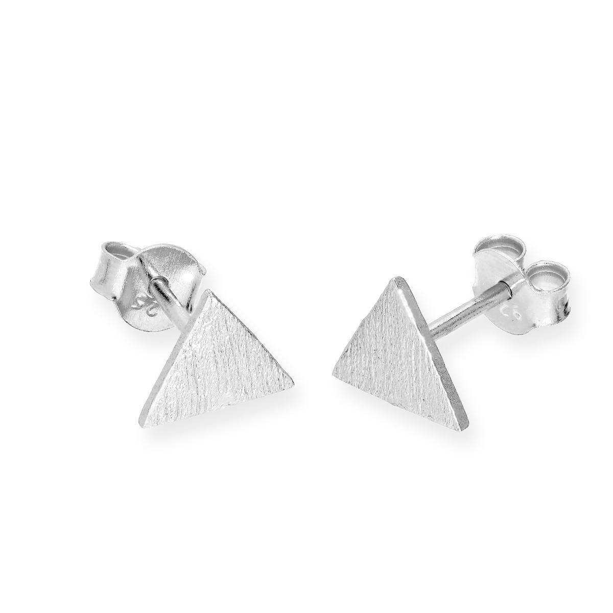 Sterling Silver Flat Brushed Triangle Stud Earrings