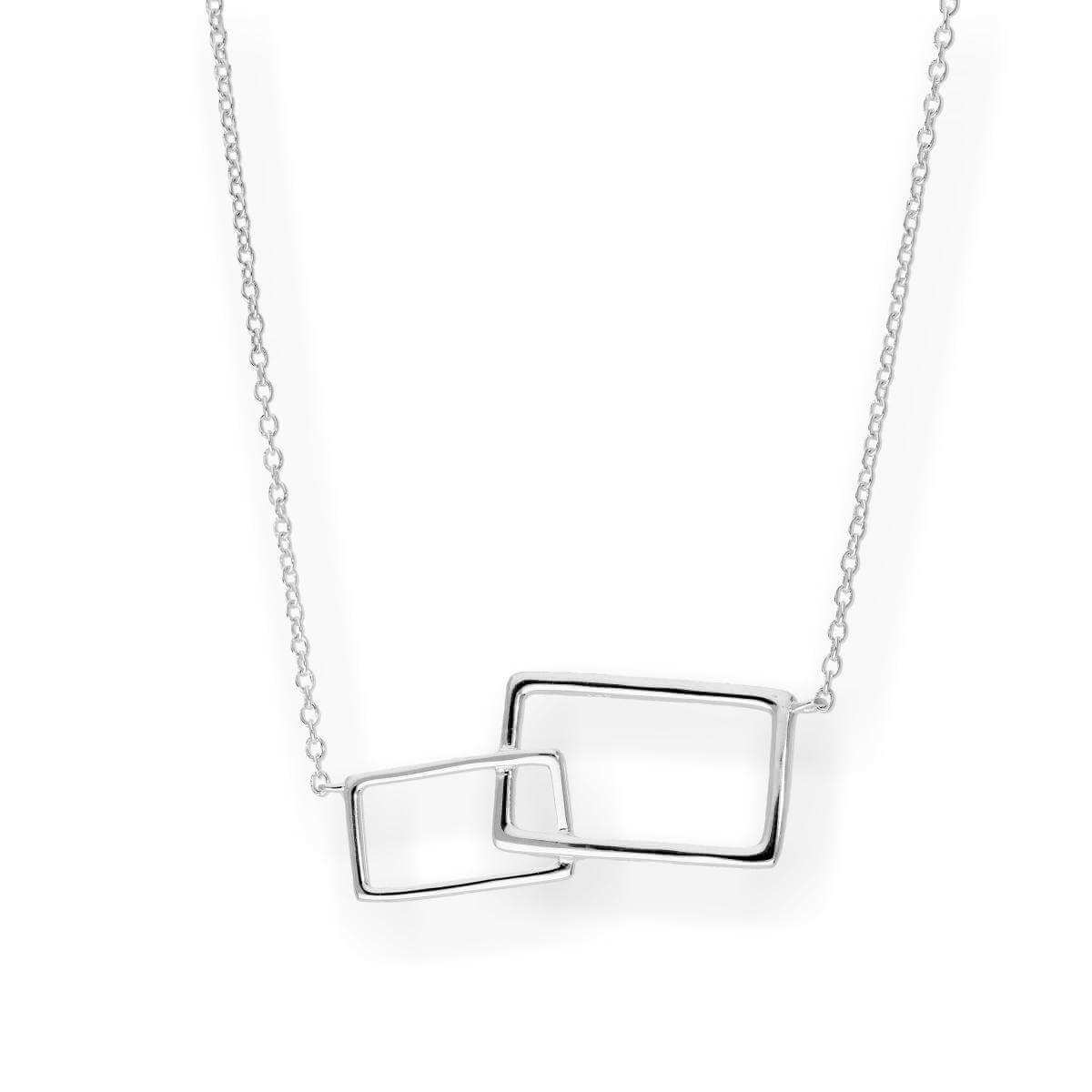 Sterling Silver Interlocking Rectangles Necklace w 18 Inch Chain