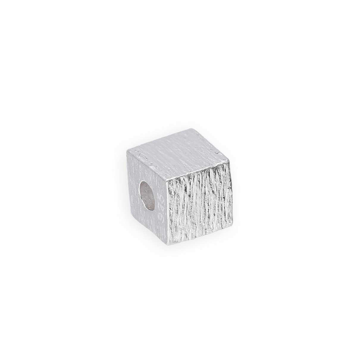 Sterling Silver Brushed Square Cube Bead 3mm