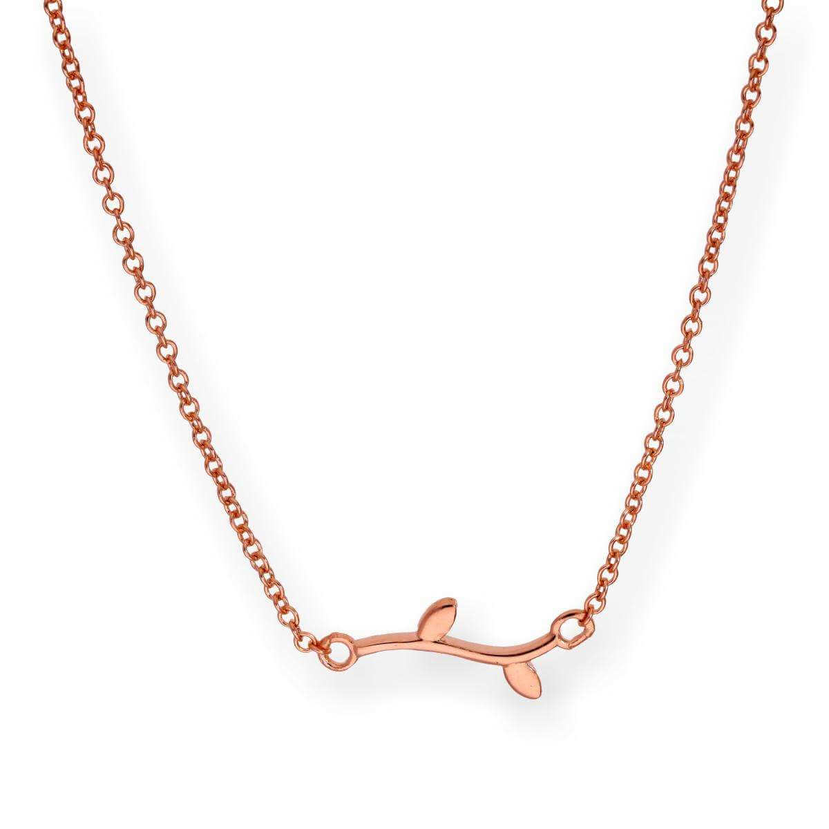 Rose Gold Dipped Sterling Silver Leaf 18 Inch Necklace