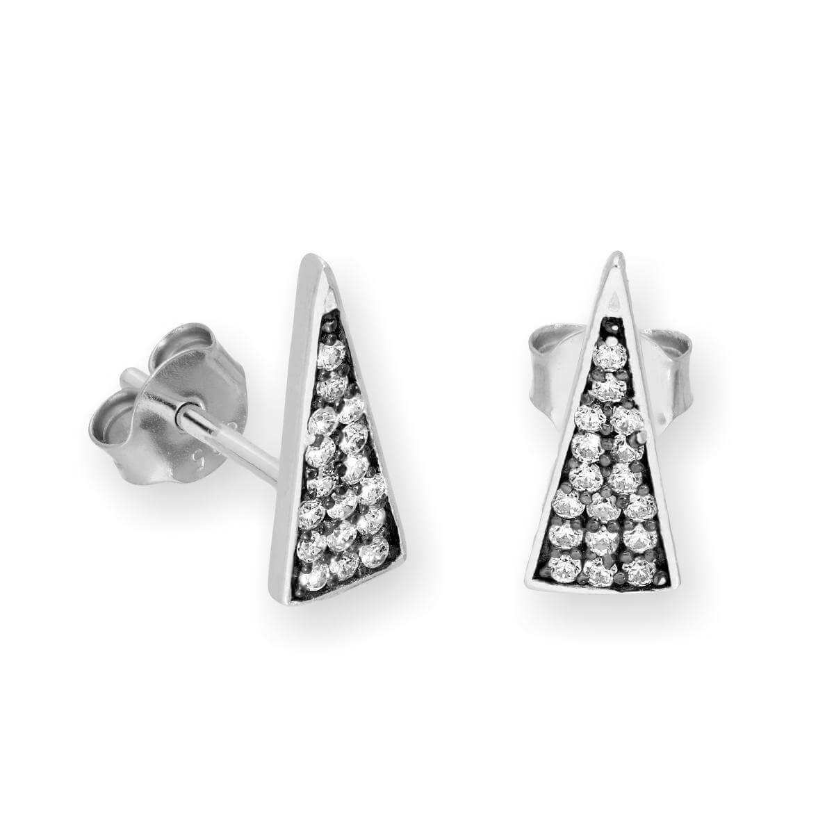 Sterling Silver & Clear CZ Crystal Spike Triangle Stud Earrings
