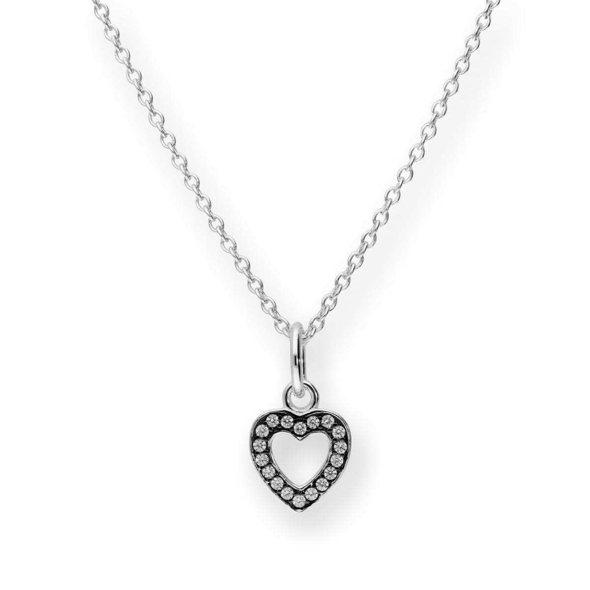 Sterling Silver & CZ Crystal Heart Pendant w Black Rhodium Necklace 16-22 Inches