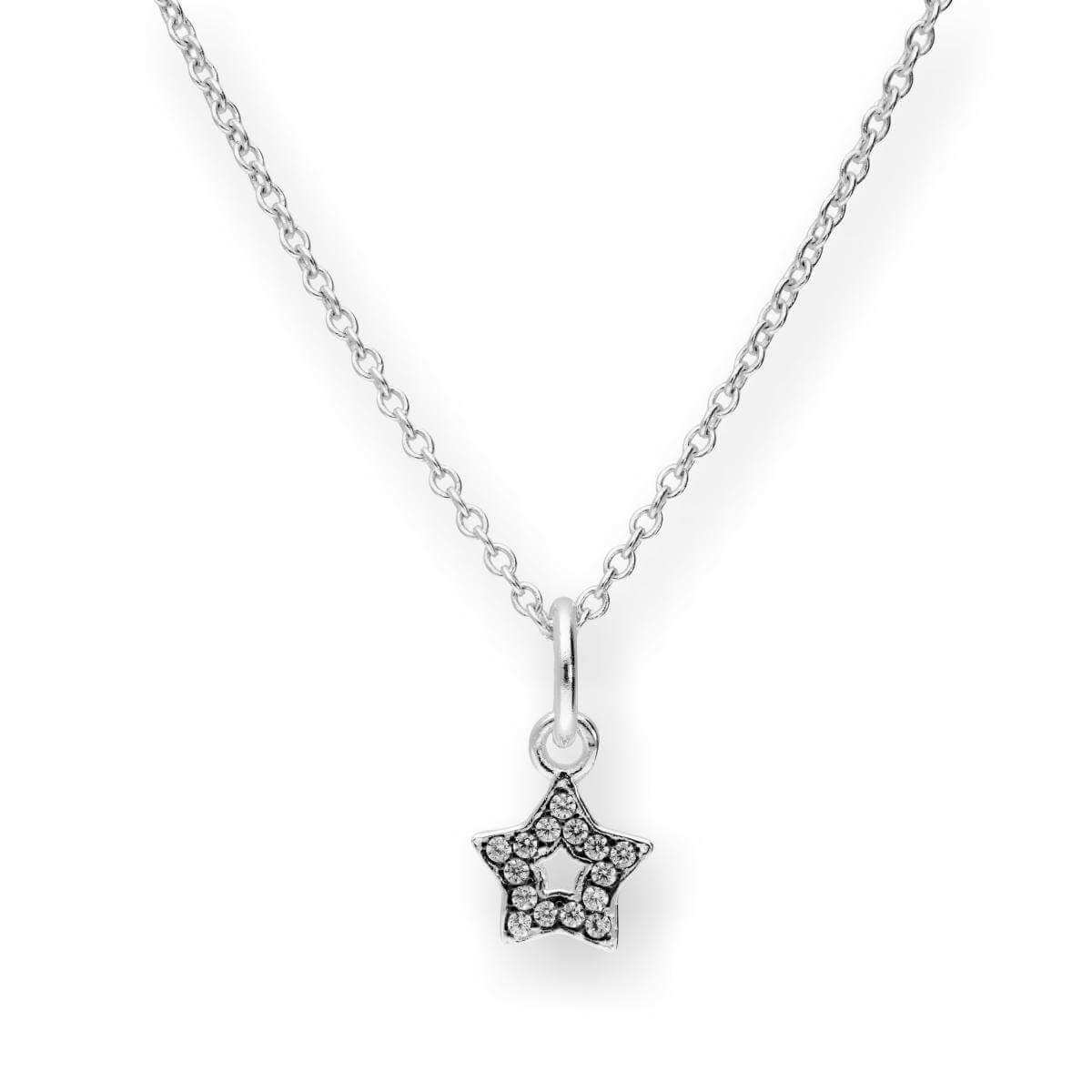 Sterling Silver & CZ Crystal Star Pendant w Black Rhodium Necklace 16-22 Inches