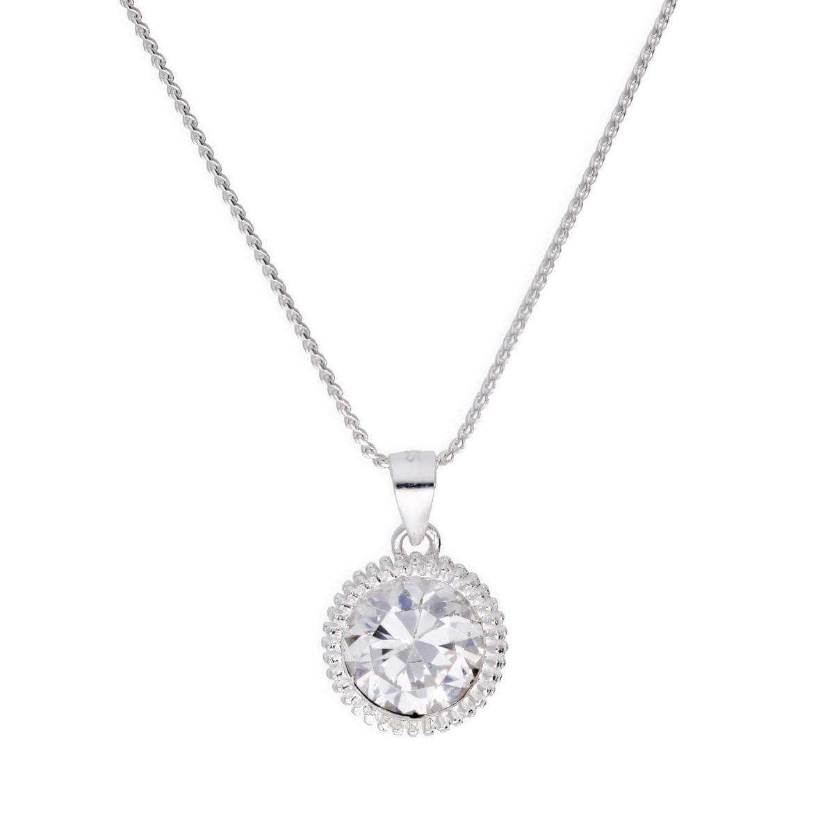 Sterling Silver Large Round Clear CZ Beaded Set Pendant Necklace 16 - 22 Inches