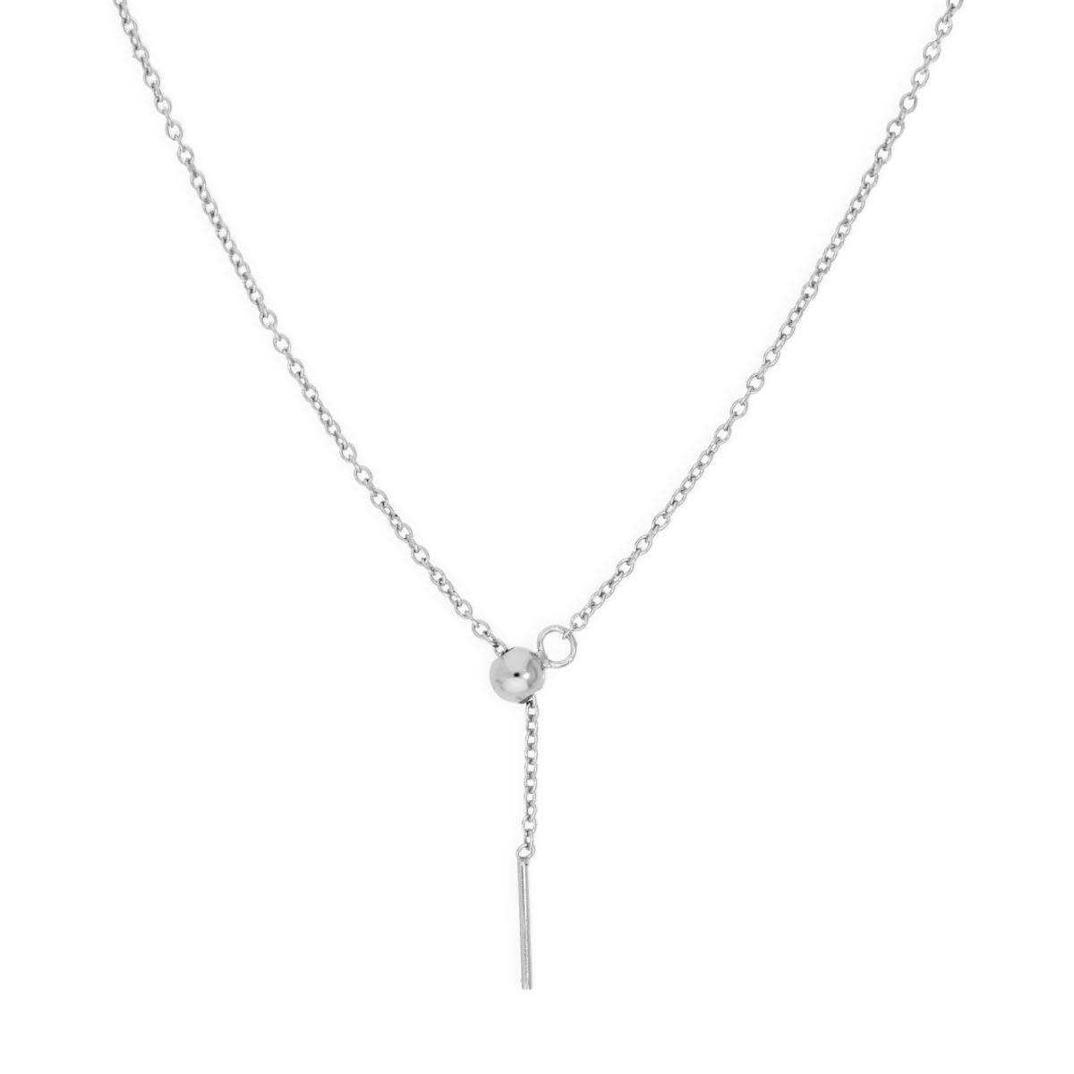 Sterling Silver Adjustable Choker to 20 Inch Belcher Chain Necklace w Bead Slider Clasp