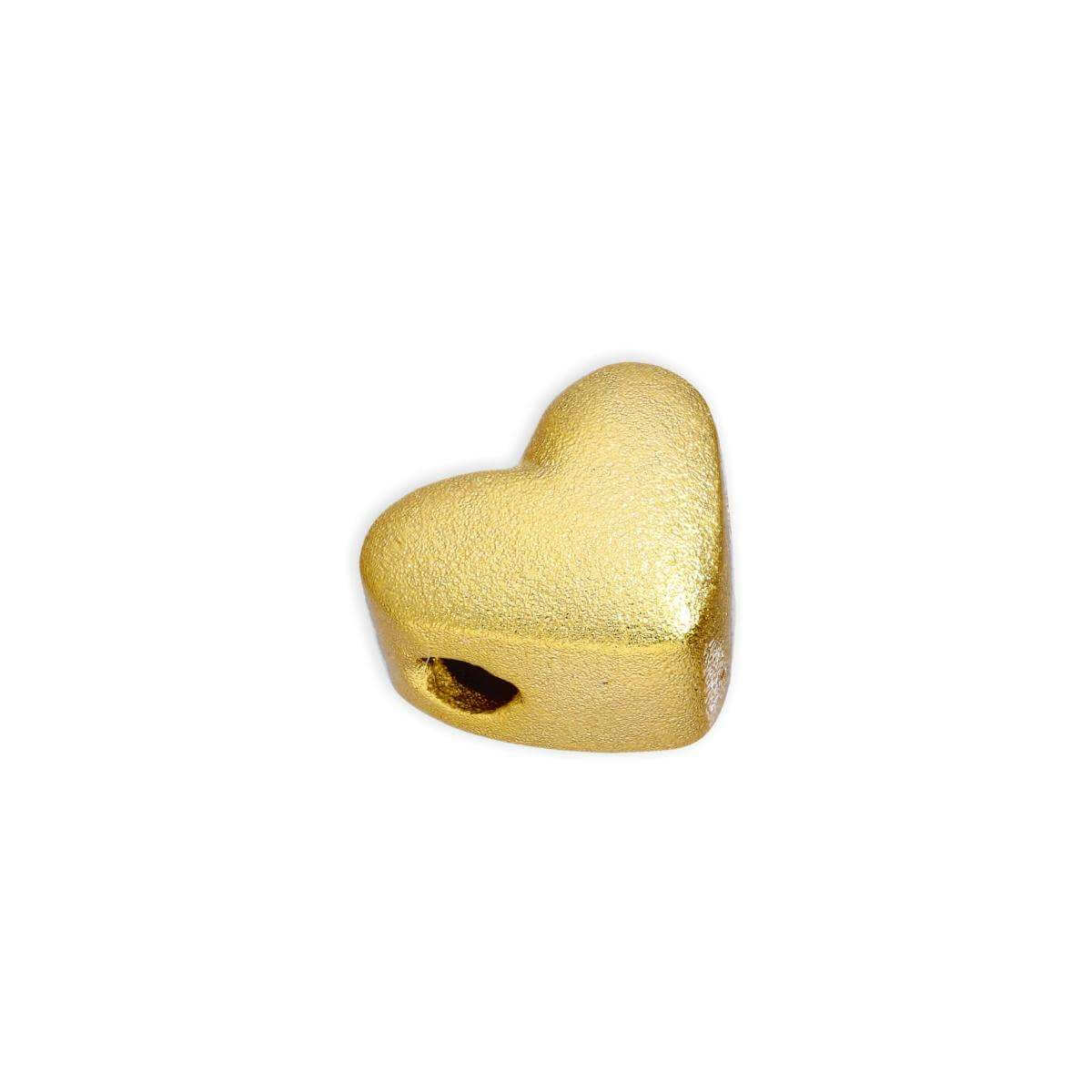 Gold Plated Sterling Silver 8mm Frosted Thick Flat Heart Bead