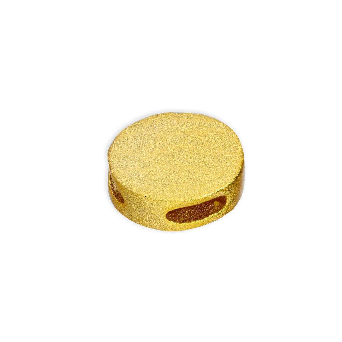 Gold Plated Sterling Silver 9mm Frosted Flat Round Disc Bead