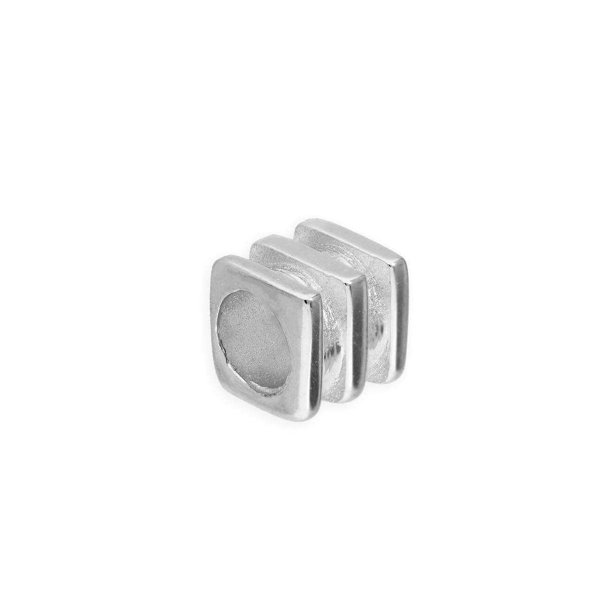 Sterling Silver 4mm 3 Ridged Square Ring Bead