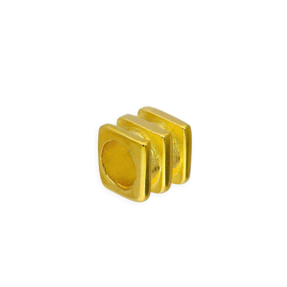 Gold Plated Sterling Silver 4mm 3 Ridged Square Ring Bead