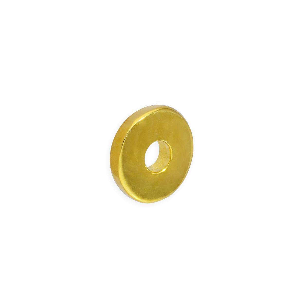 Gold Plated Sterling Silver 1mm Plain Polished Round Flat Disc Ring Bead
