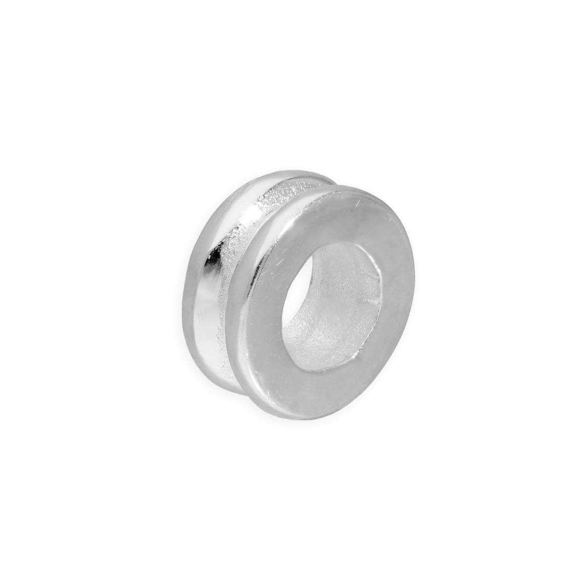Sterling Silver 3mm Polished 2 Ridged Round Ring Bead