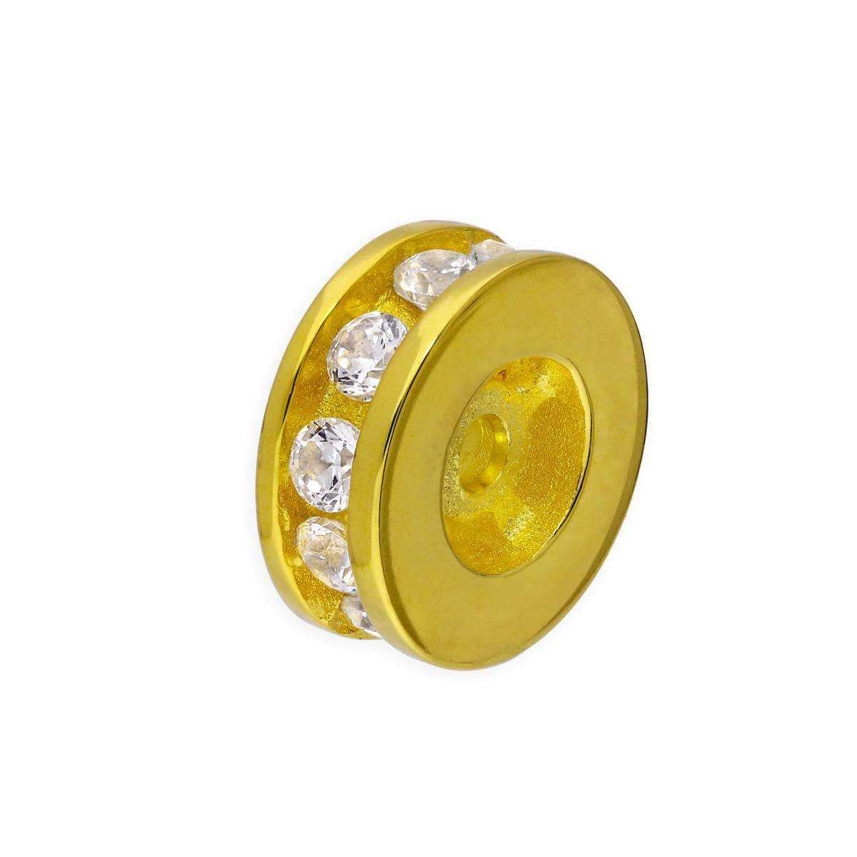 Gold Plated Sterling Silver 3mm Round Channel Set Clear CZ Ring Bead