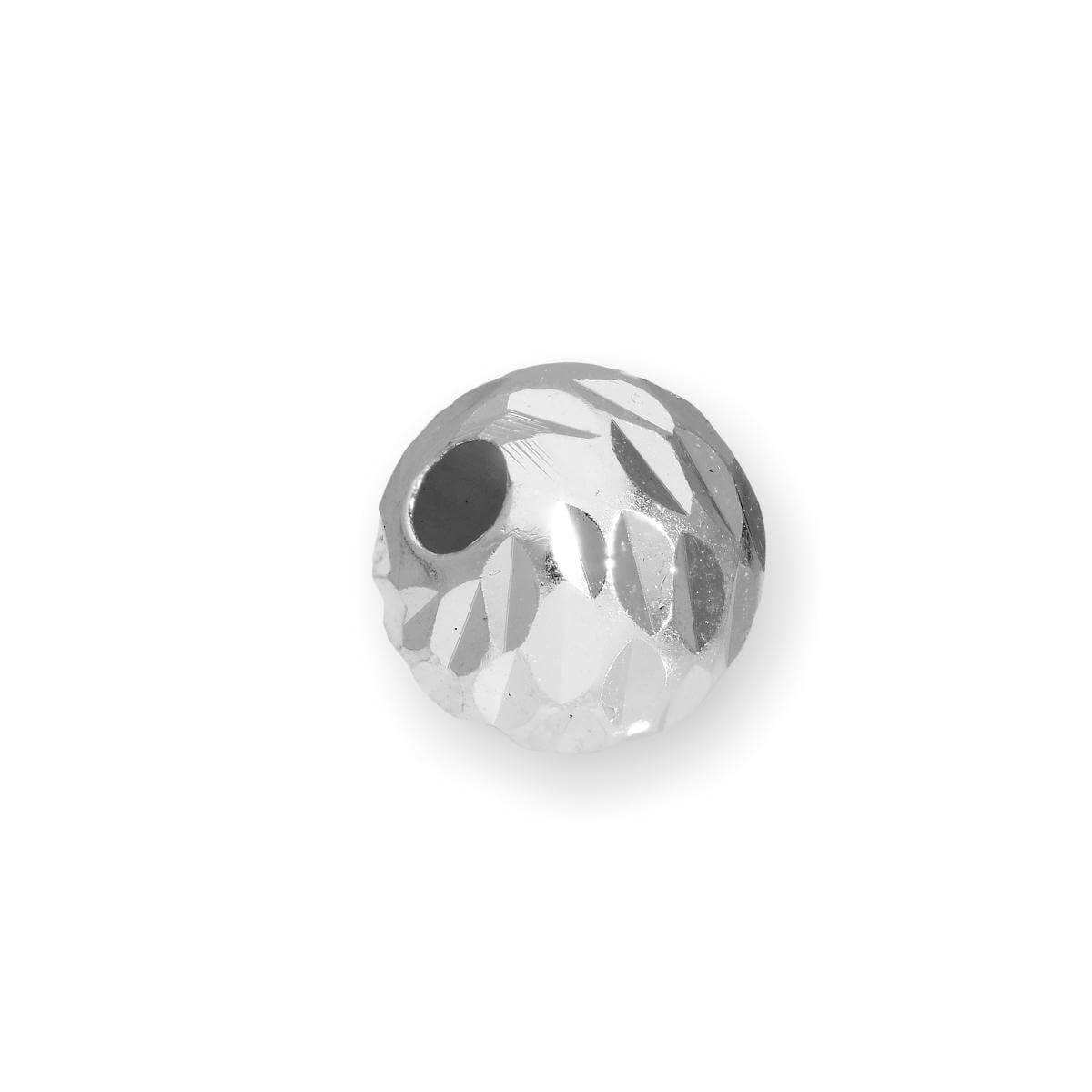 Sterling Silver 6mm Diamond Faceted Round Bead