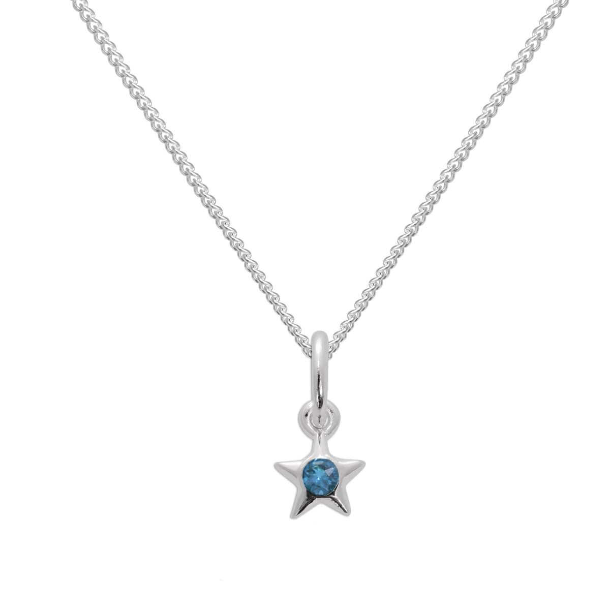 Sterling Silver & Aquamarine CZ Crystal March Birthstone Star Pendant Necklace 14 - 32 Inches