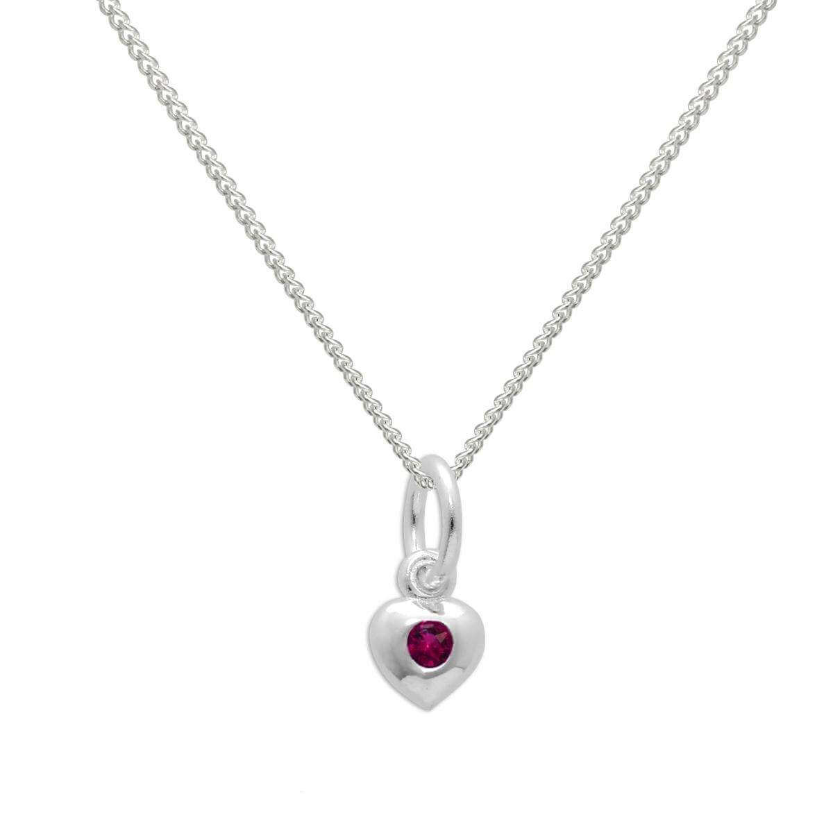 Sterling Silver & Ruby CZ Crystal July Birthstone Heart Necklace