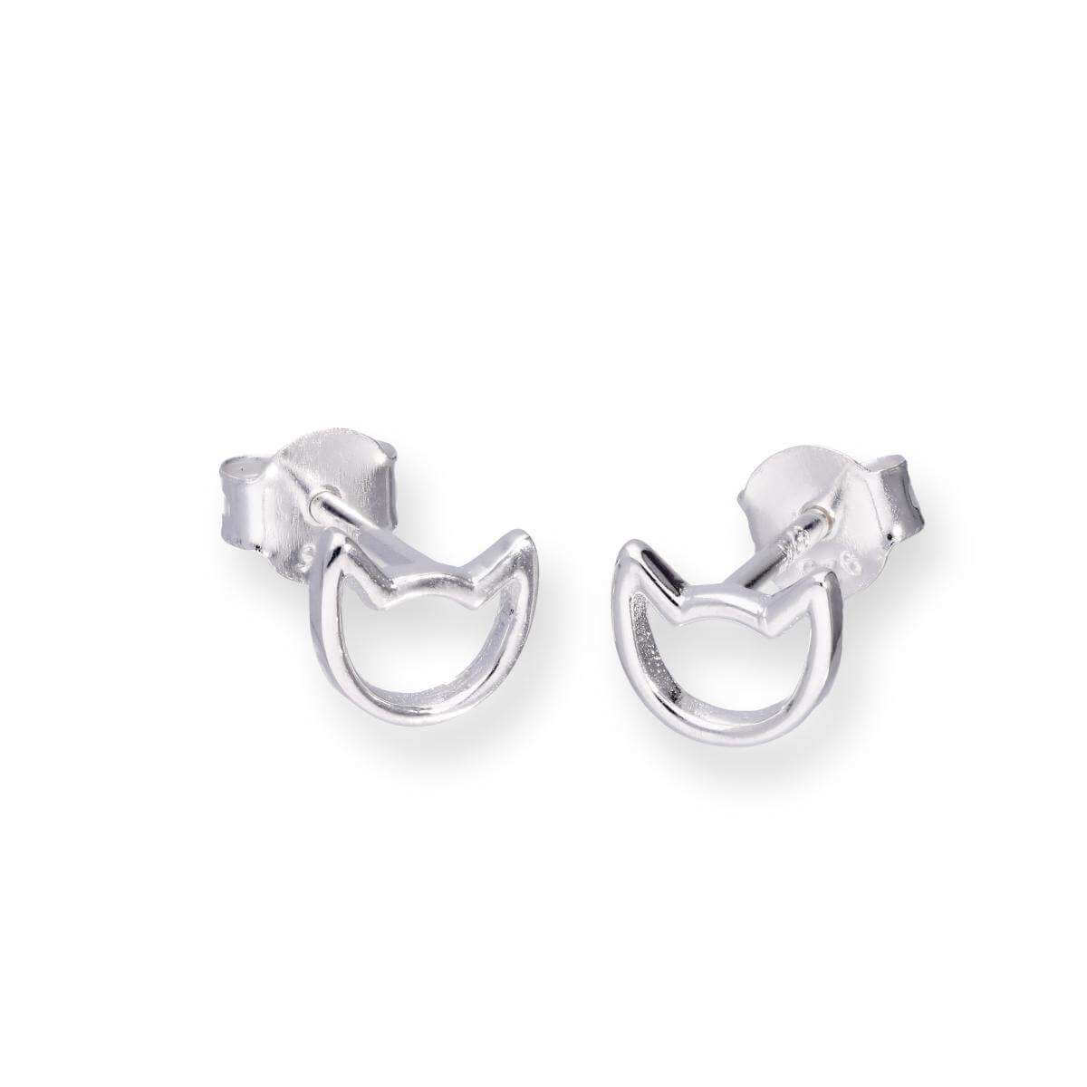 Sterling Silver Cat Head Outline Stud Earrings