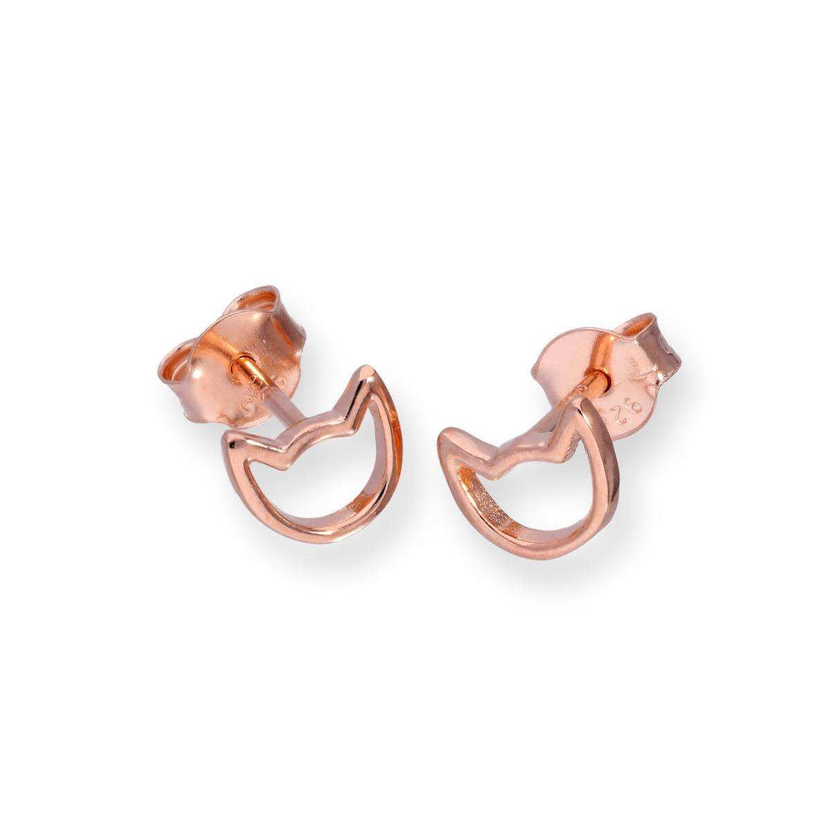 Rose Gold Plated Sterling Silver Cat Head Outline Stud Earrings