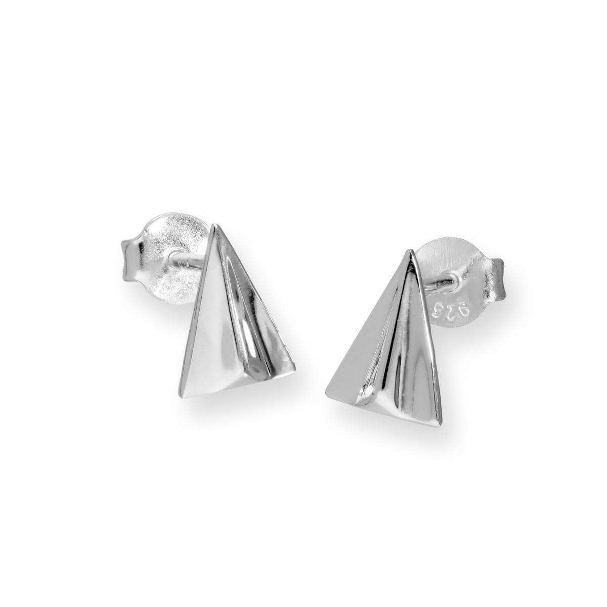 Sterling Silver Paper Airplane Stud Earrings