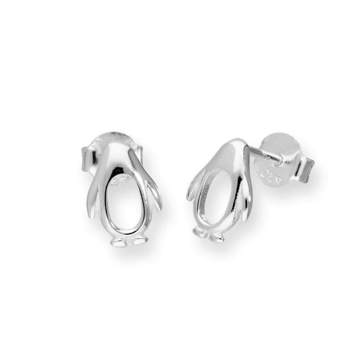 Sterling Silver Cut Out Penguin Stud Earrings