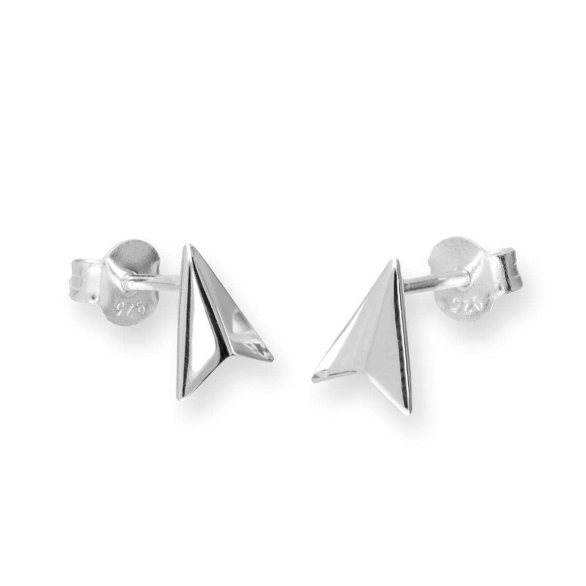 Sterling Silver Paper Plane Stud Earrings