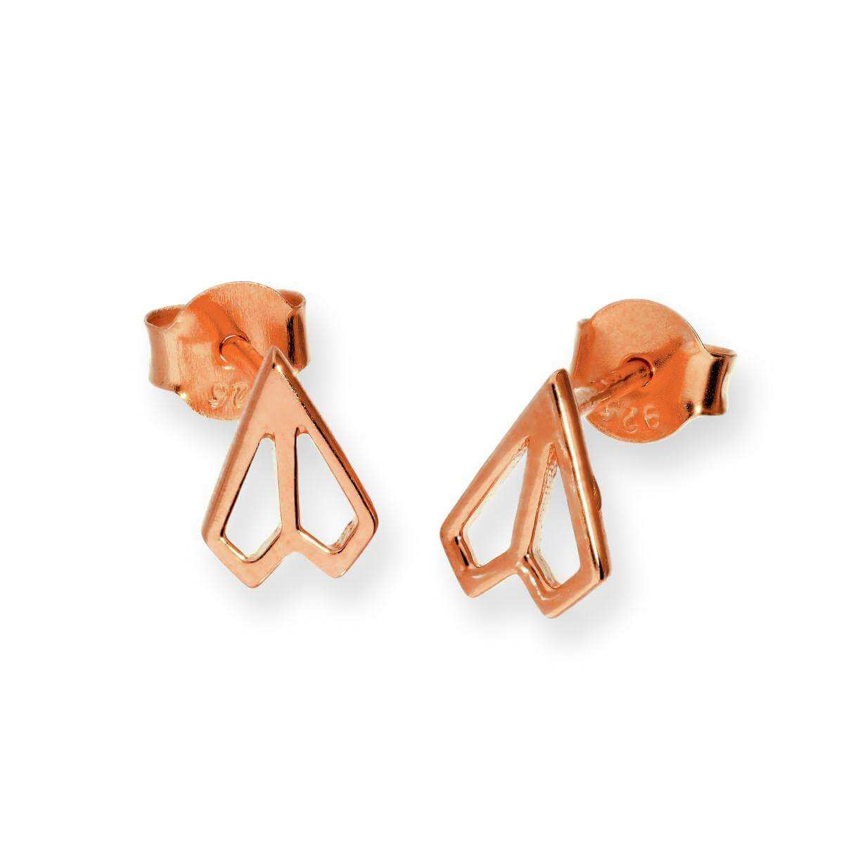 Rose Gold Plated Sterling Silver Paper Plane Stud Earrings