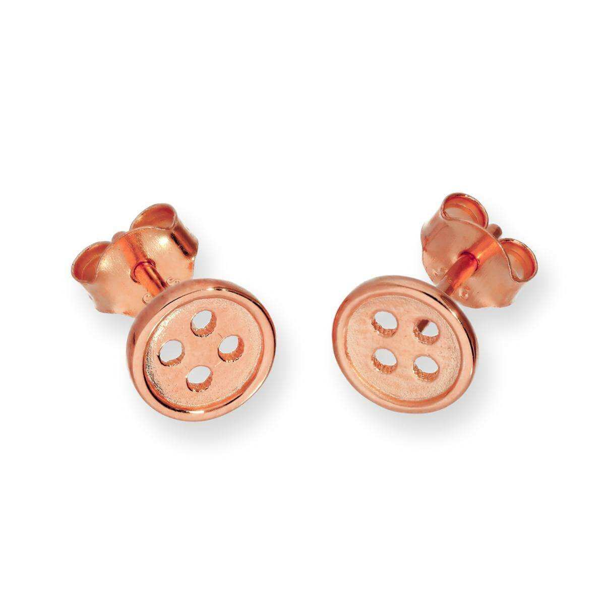 Rose Gold Dipped Sterling Silver Round Button Stud Earrings