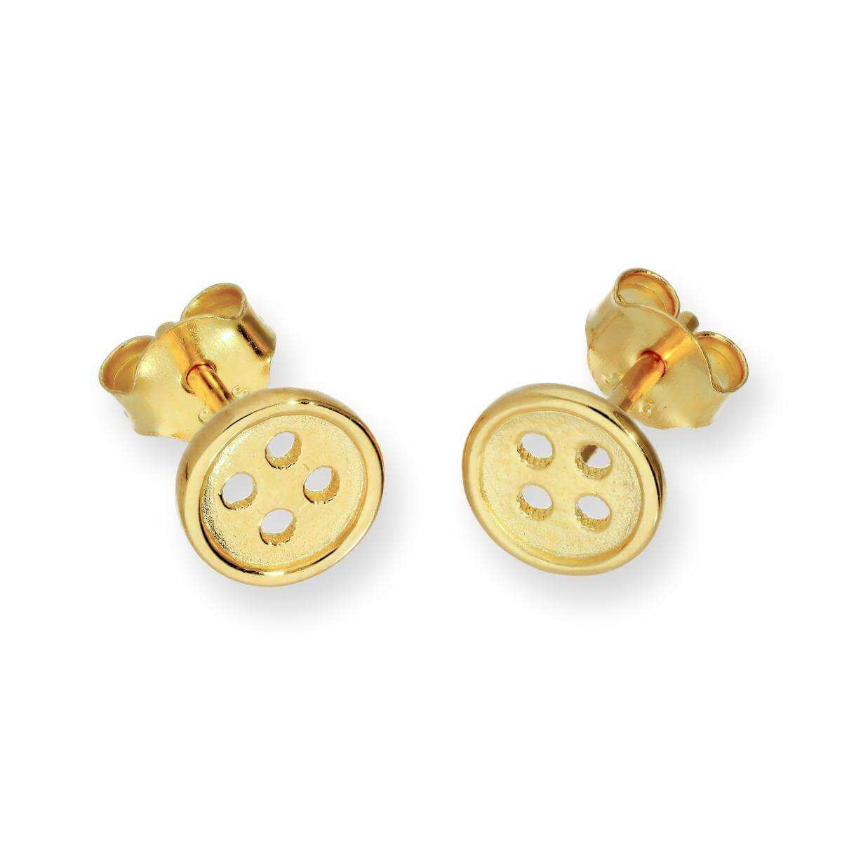 Gold Plated Sterling Silver Round Button Stud Earrings