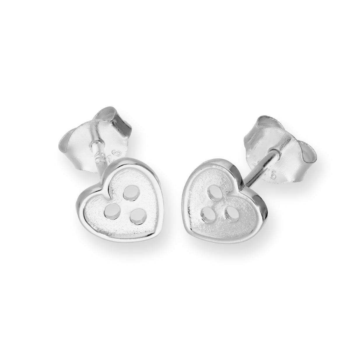 Sterling Silver Heart Shaped Button Stud Earrings