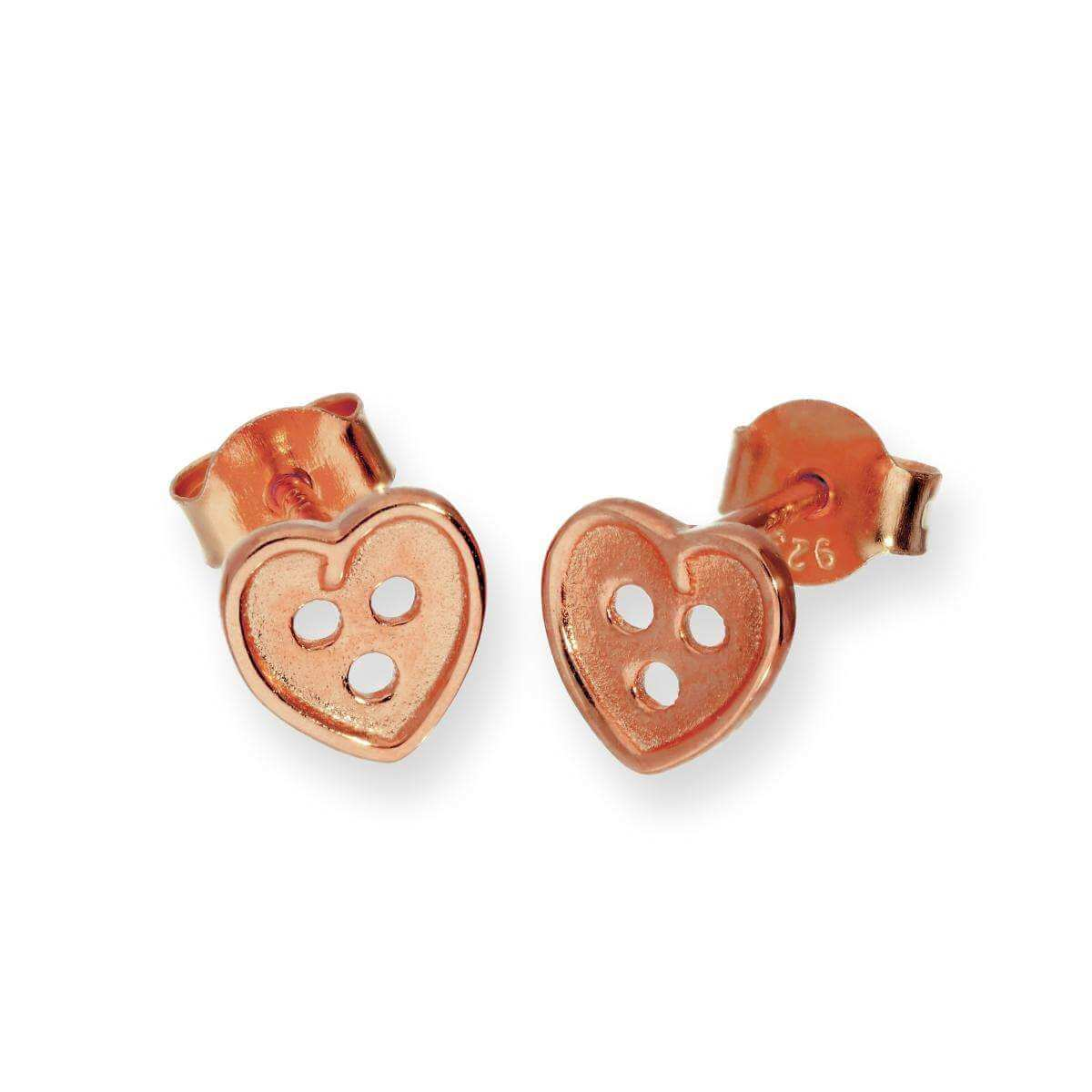 Rose Gold Plated Sterling Silver Heart Shaped Button Stud Earrings