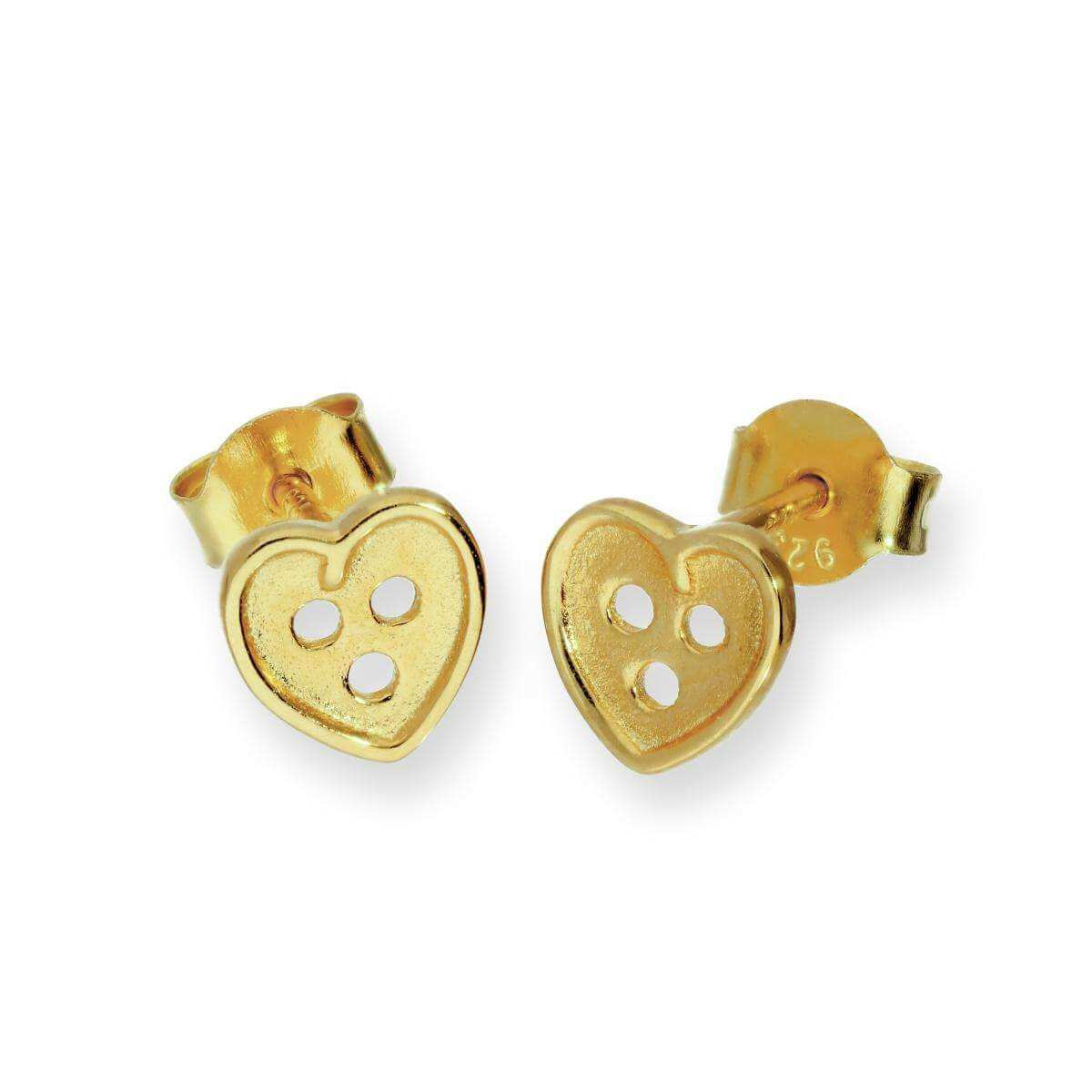 Gold Plated Sterling Silver Heart Shaped Button Stud Earrings