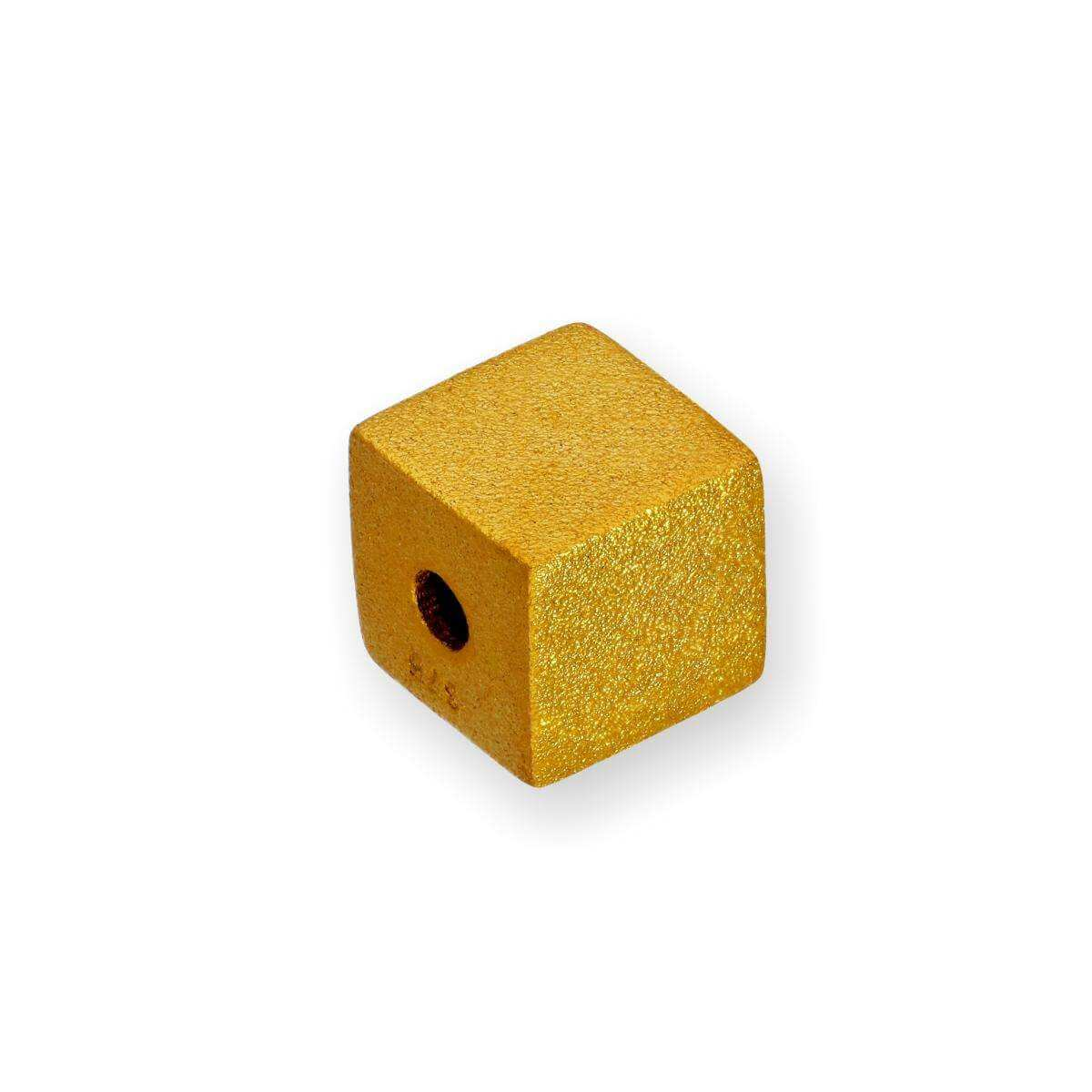9ct Gold Frosted Cube Bead Charm