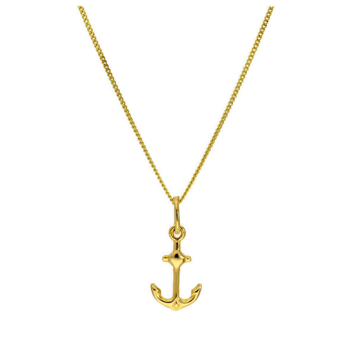 9ct Gold Ship Anchor Pendant Necklace 16 - 20 Inches
