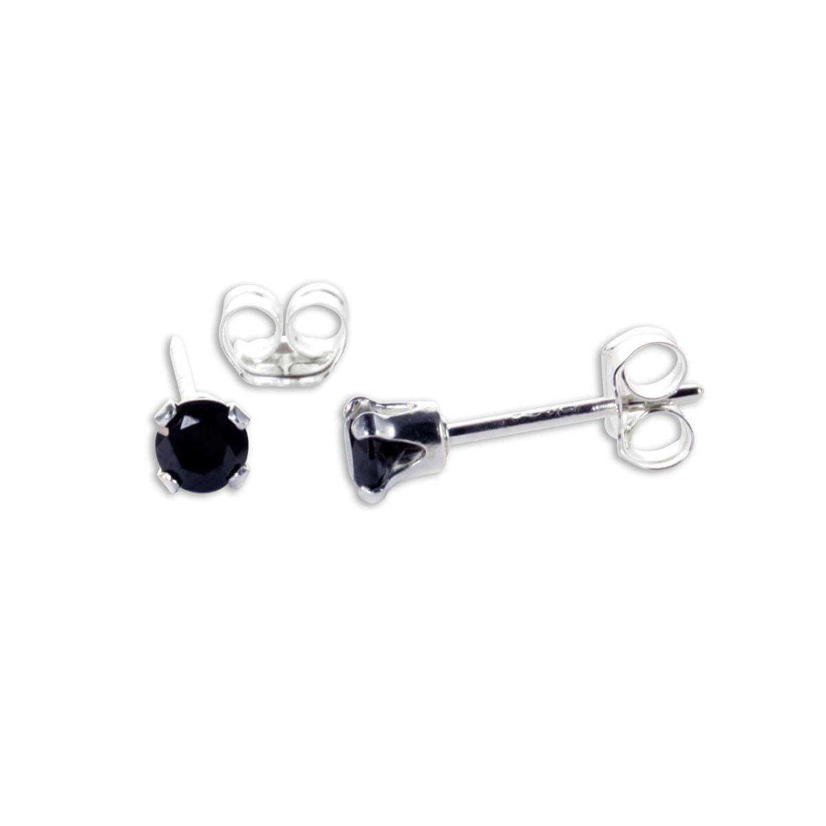 Sterling Silver Black CZ 3mm Round Stud Earrings