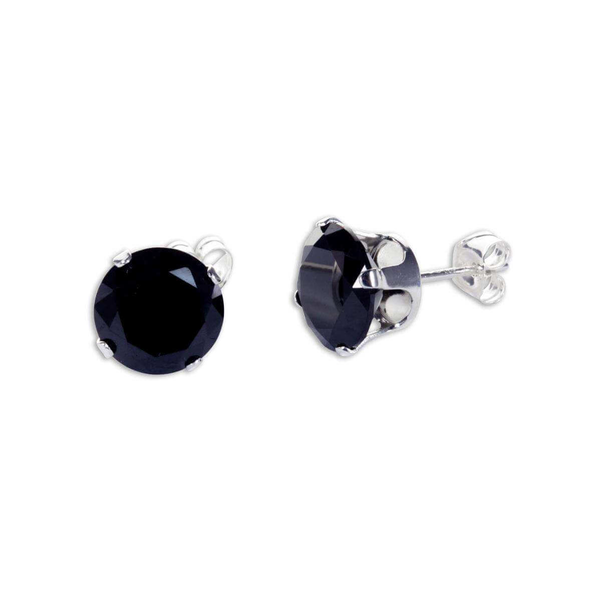 Sterling Silver Black CZ 7mm Round Stud Earrings