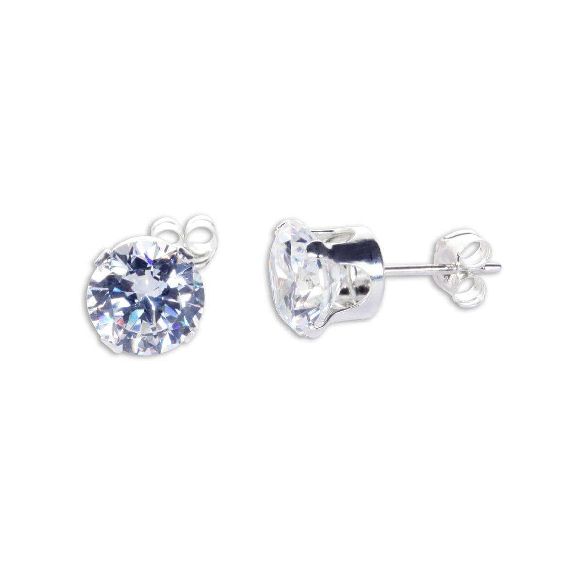 Sterling Silver Clear CZ 7mm Round Stud Earrings