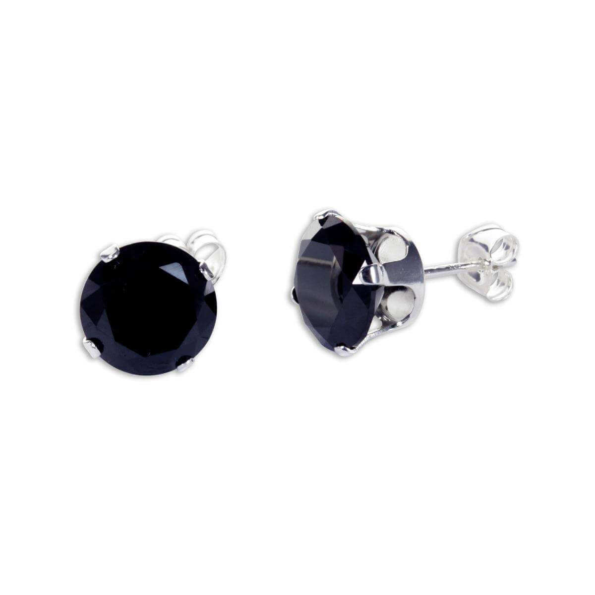 Sterling Silver Black CZ 8mm Round Stud Earrings