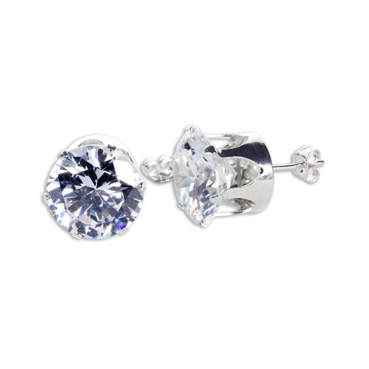 Sterling Silver Clear CZ 12mm Round Stud Earrings