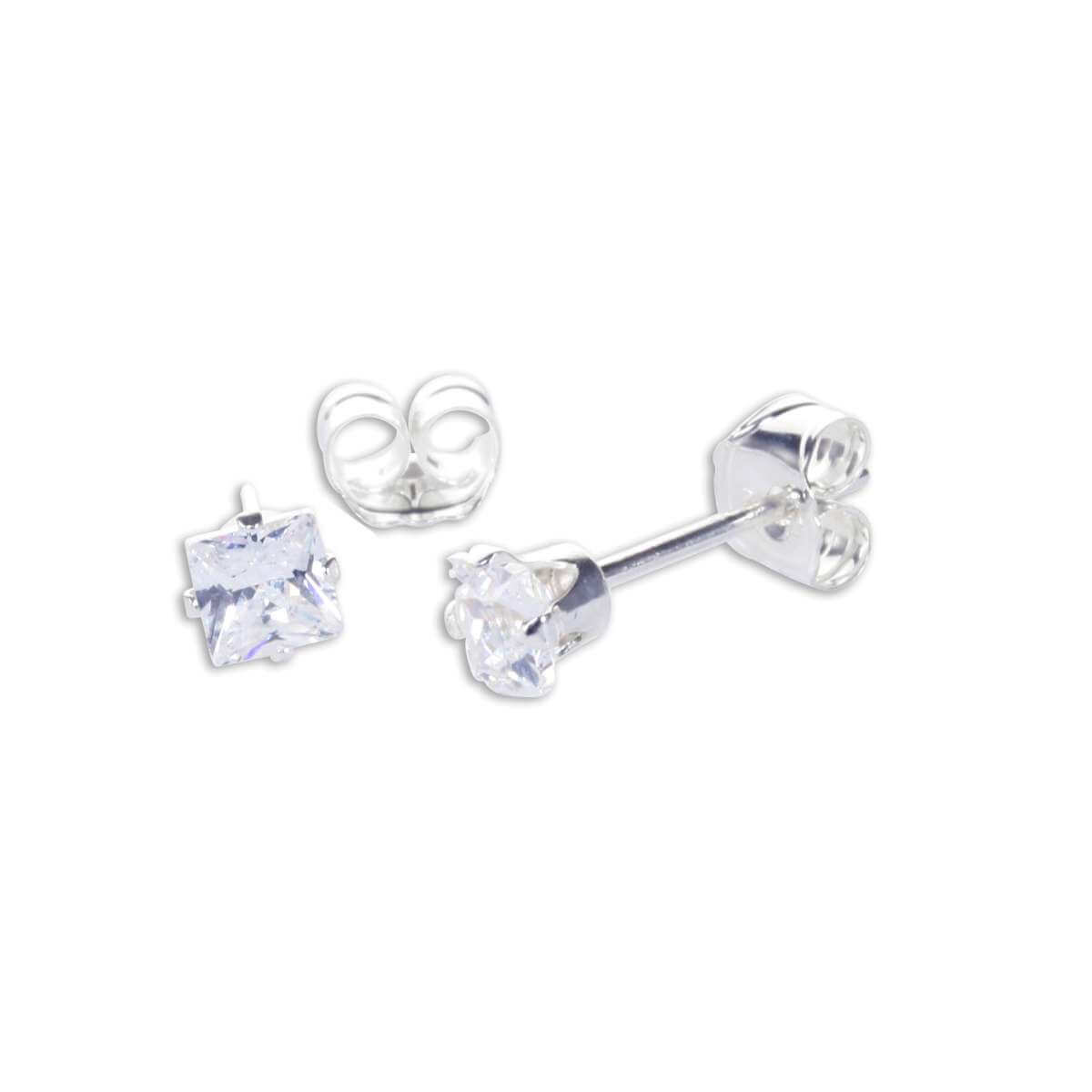 Sterling Silver Clear CZ 3mm Square Stud Earrings