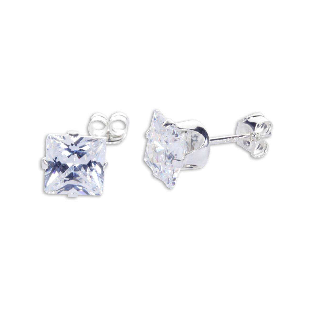 Sterling Silver Clear CZ 6mm Square Stud Earrings