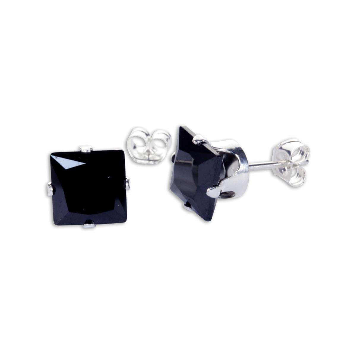 Sterling Silver Black CZ 7mm Square Stud Earrings