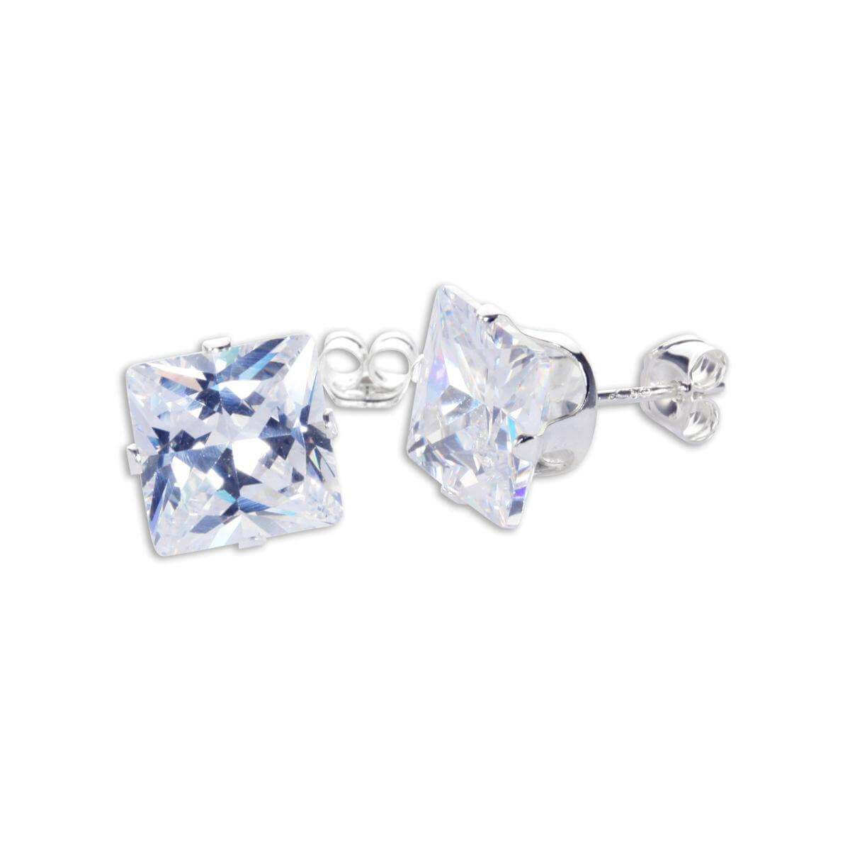 Sterling Silver Clear CZ 8mm Square Stud Earrings