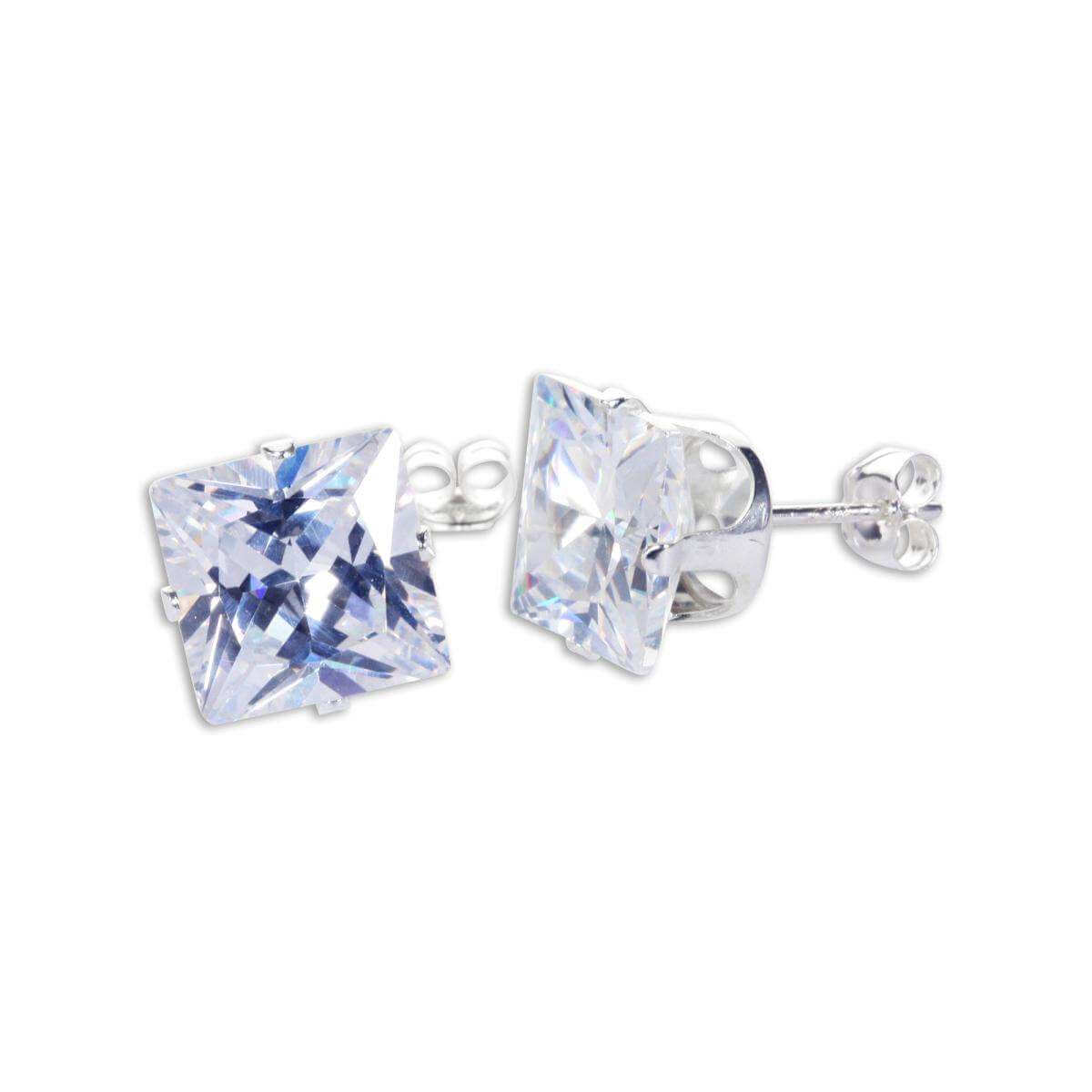 Sterling Silver Clear CZ 9mm Square Stud Earrings