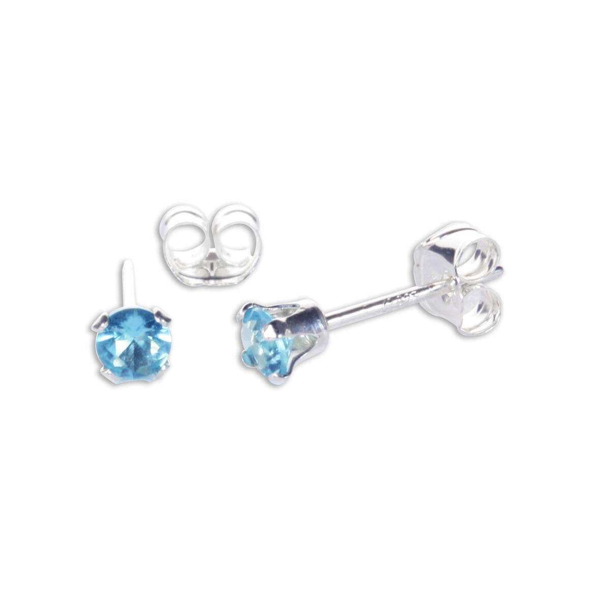 Sterling Silver Aquamarine CZ 3mm Round Stud Earrings