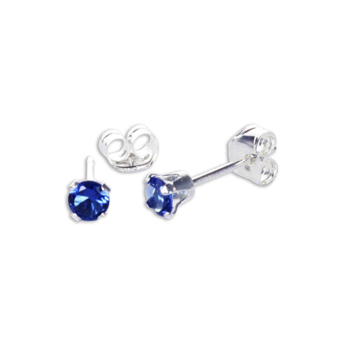 Sterling Silver Sapphire CZ 3mm Round Stud Earrings