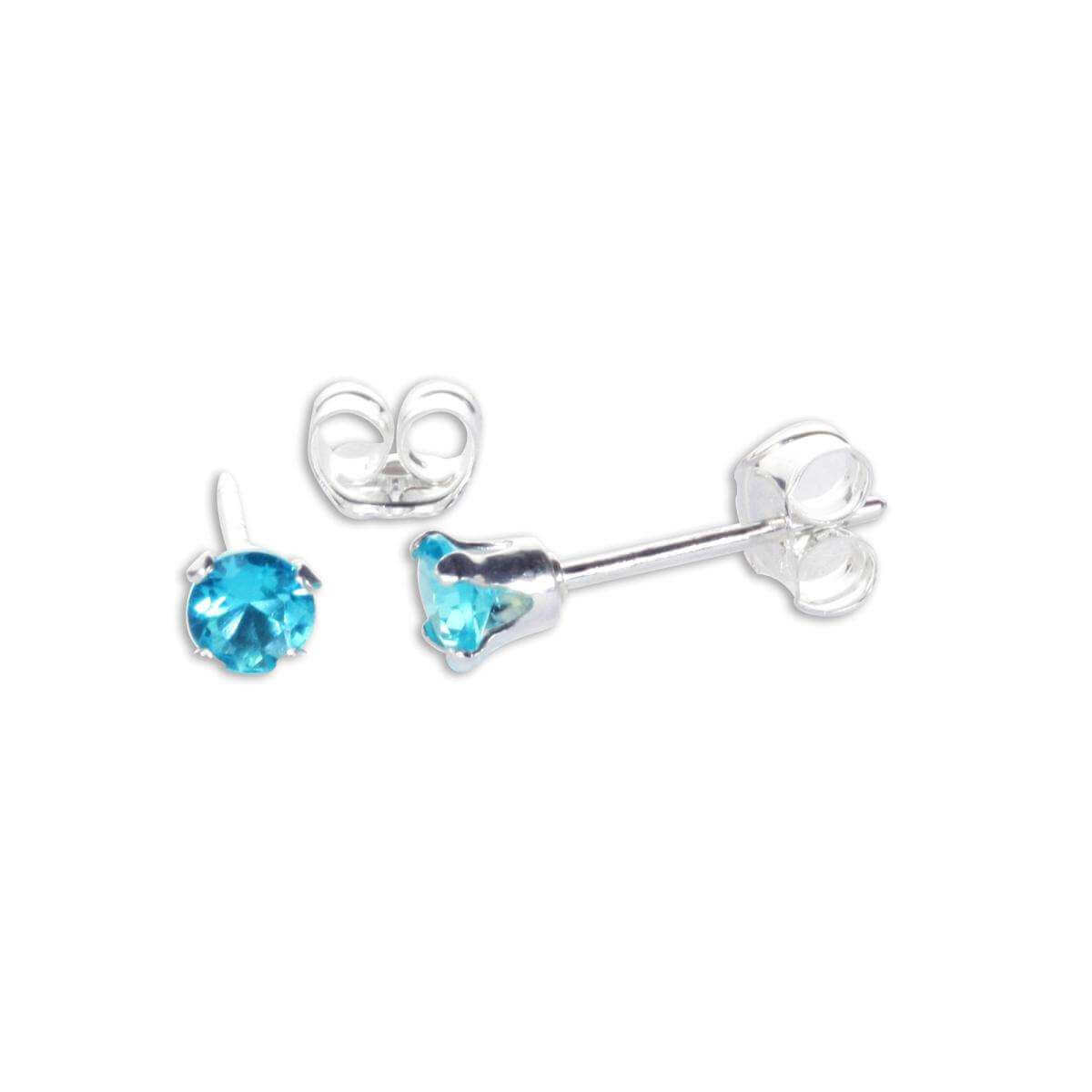 Sterling Silver Blue Zircon CZ 3mm Round Stud Earrings
